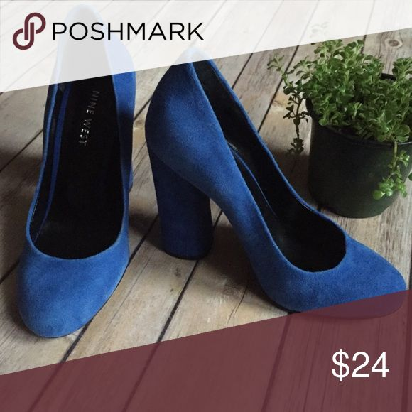 "Nine West Blue Suede Block Heel Pumps Size 5.5 These are the real ""blue suede shoes"" 🎶 These pumps are Nine West and a size 5 1/2. The heel is 5"". No major wear on these. They are true beauties. 👠 👠 Nine West Shoes Heels"