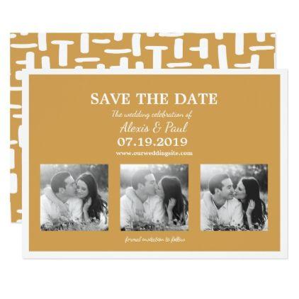 #Mustard Gold Photo Collage Wedding Save the Dates Card - #savethedate #wedding #love #card #cards #invite #invitation