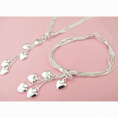 2x 925 Sterling Silver Five-line Chain with Five-heart Necklace   Bracelet  - $20.00 #onselz