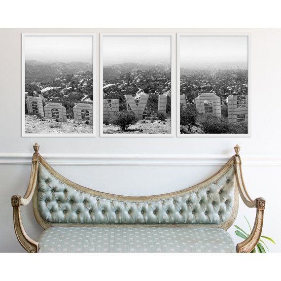Sale Large Wall Art Hollywood Decor Triptych Black And White