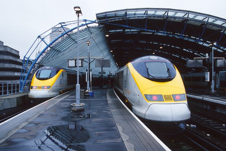 "Eurostar high speed train. This thing is fast! 180+ mph from London to Paris. It also goes through the ""chunnel"" or Channel Tunnel under the English Channel."