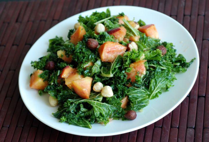 Peach & Hazelnut Kale Salad with Maple Miso Vinaigrette - I am not ...