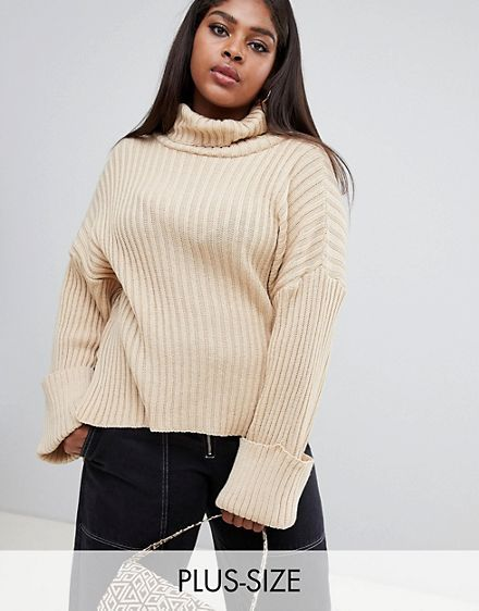 48008d1aa312a0 Boohoo Plus roll neck cable knit sweater in camel | My Dream ...
