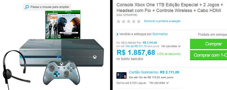 Console Xbox One 1TB Edição Especial  2 Jogos  Headset com Fio  Controle Wireless  Cabo HDMI << R$ 167191 >>