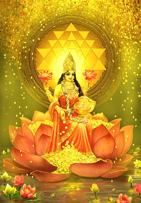 Golden Lakshmi painted by Lila Shravani