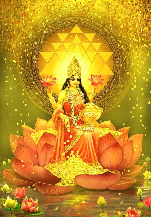 Golden Lakshmi painted by Lila Shravani
