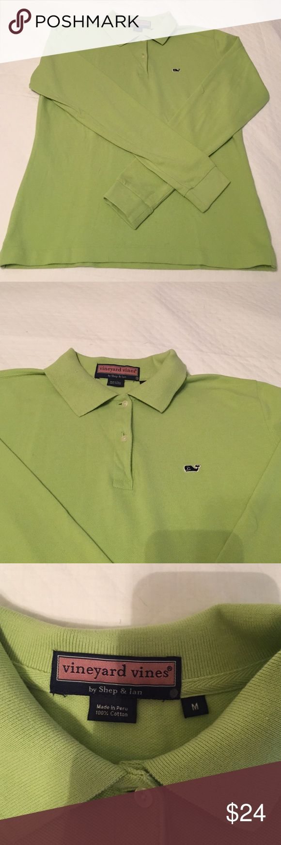 Vineyard Vines Size M Long Sleeve Polo Vineyard Vines long sleeve women's polo size medium. Never worn! Perfect condition. I bought this at the outlet for $35 (originally $70) and didn't try it on. The sleeves are too short for me because I'm 6'2, and it is not returnable. Just trying to regain some of my losses  there is a little silver dot on the tag indicating it is from the outlet but there aren't any defects or stains. Vineyard Vines Tops