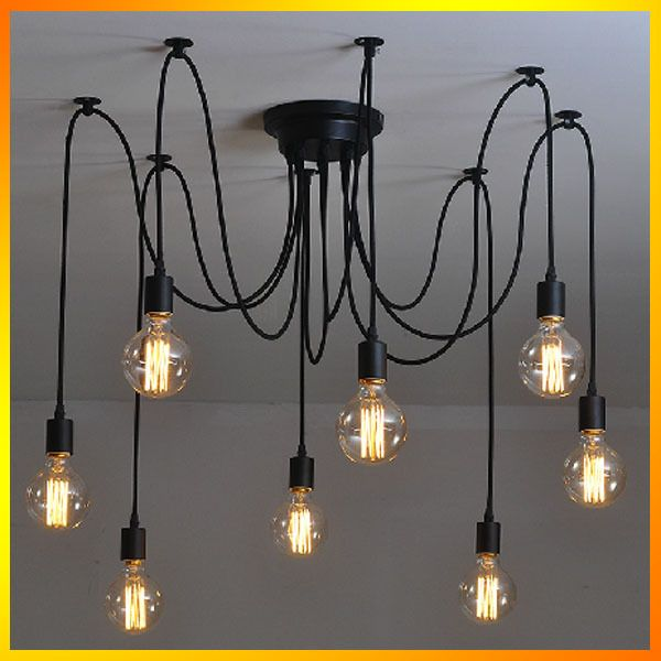 Cheap light festoons, Buy Quality light light directly from China light brown hair dye Suppliers: 	Vintage Classic Multiple Ajustable DIY Ceiling Spider Lamp Light Retro Chandelier Pendant Lighting Edison Chic Industri