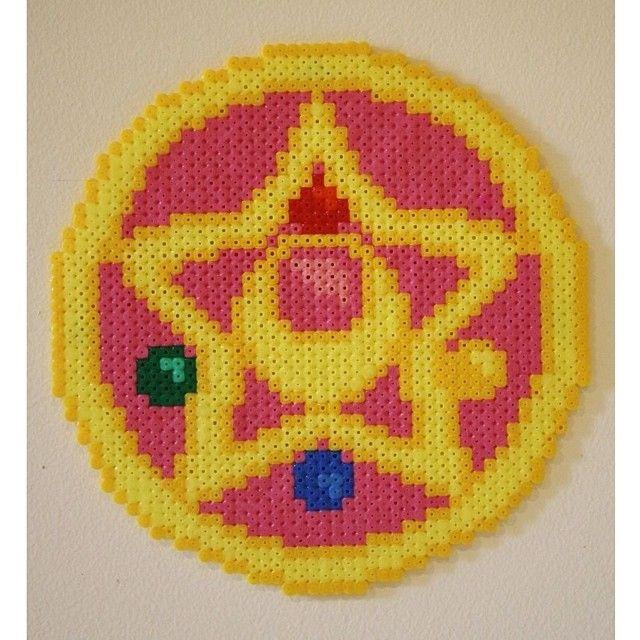 Sailor Moon Transformation Brooch perler beads by scarletsparkle