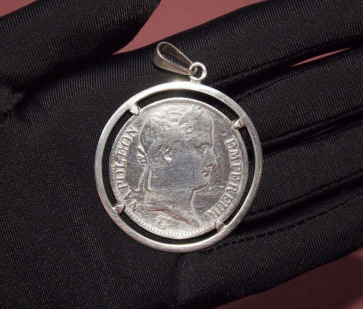 """Старинный серебряный кулон  """"Наполеон I"""" с монетой 5 франков Франция"""