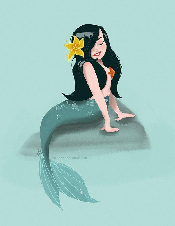 Seafoam Mermaid Pinup Print by shopannshen on Etsy, $20.00
