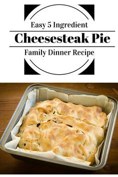 This is an easy kid-friendly 5 ingredient Philly Cheesesteak Pie family dinner recipe.  It only takes a few minutes to throw together, and might just become a weeknight favorite!