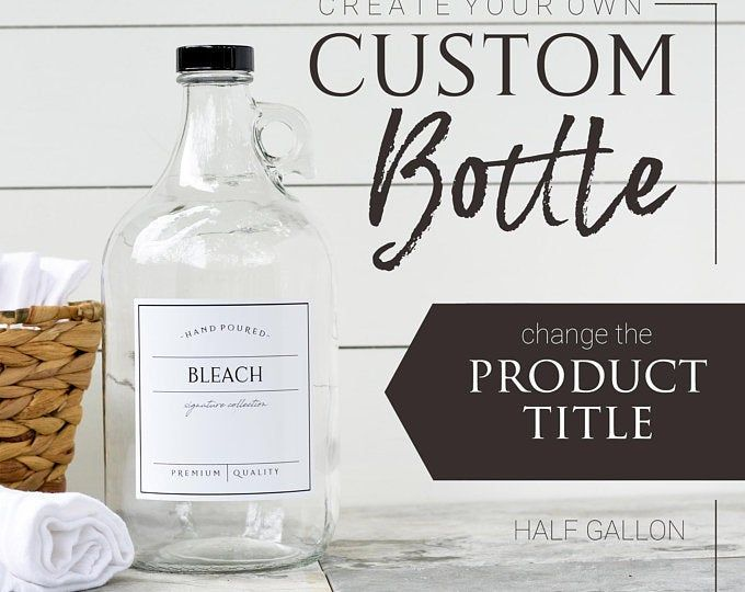 1 2 Gallon Jug Laundry Soap Bottles Detergent Softener Bleach Refillable Bottles With Labels Half Gallon Jug Growlers In 2020 Laundry Soap Vinyl Labels Custom Label Design