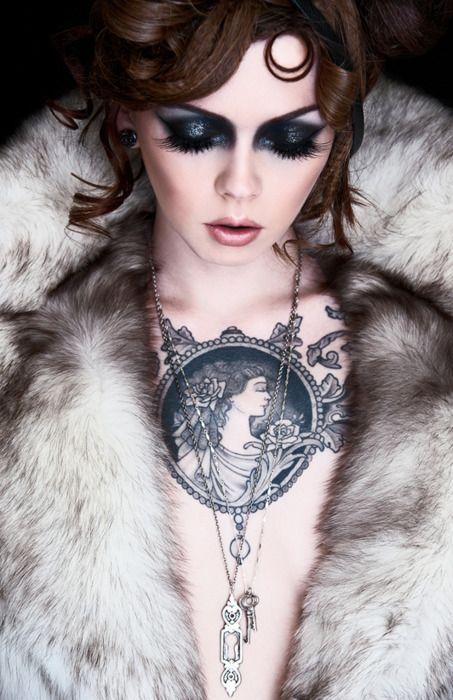 """""""apnea"""": Fur Coats, Art Nouveau, Eye Makeup, Cameo Tattoo, Chest Tattoo, A Tattoo, Eyemakeup, Vintage Tattoo, Chest Pieces"""