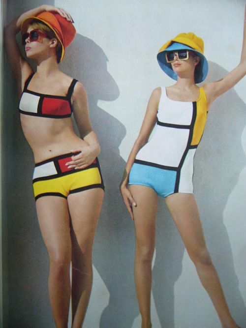 Mondrian-style bathing suits, 1965-66.