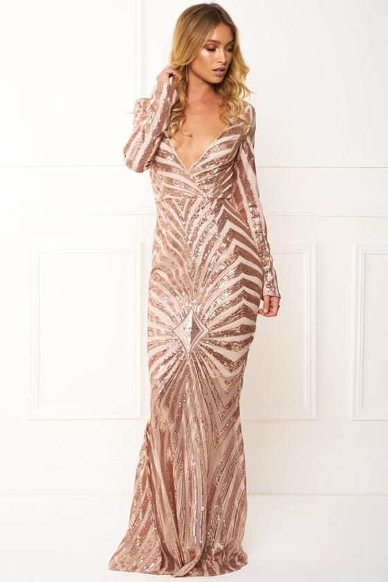 Honey Couture IMOGEN Rose Gold Sequin Long Sleeve Evening Gown Dress Honey  Couture One Honey Boutique AfterPay ZipPay OxiPay Sezzle Free Shipping 6d1296e68