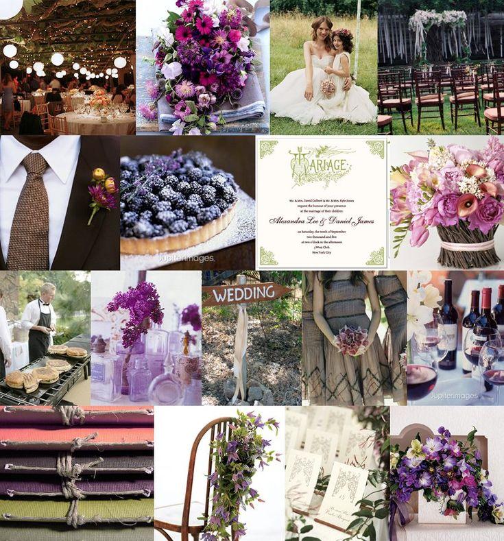 Purple & Vine Inspiration Board - Purple/Green/Brown color palate - Mood: rustic & romantic