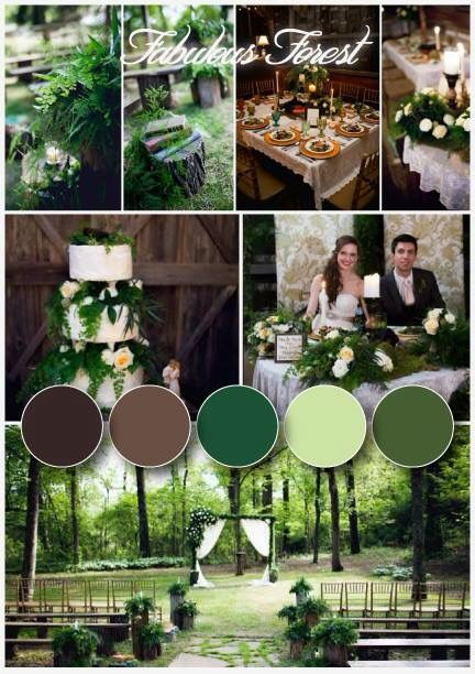 Green forest wedding...colors mainly...not so much with all the foliage