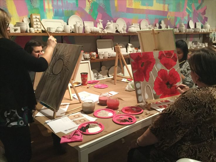Ladies Night is every Thursday at Clay & Cupcakes in Edmonton, AB & Corner Brook, NL! Canada's sweetest place to paint pottery!  Visit Www.clayandcupcakes.com for more info