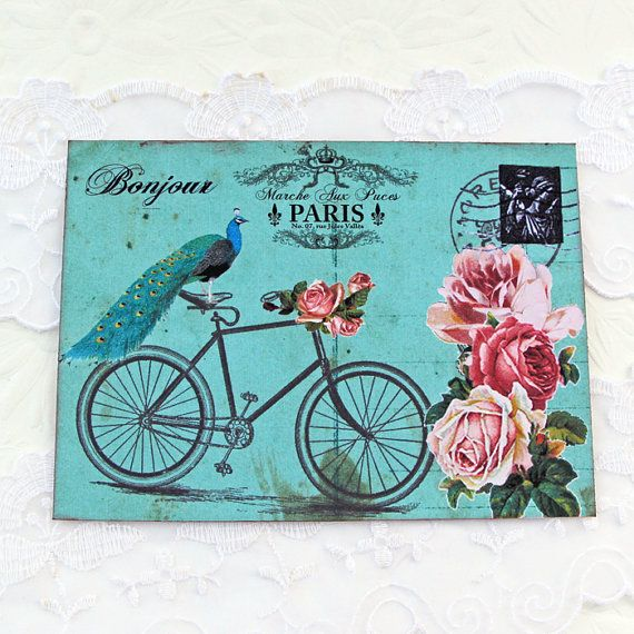 Bicycle French Note Cards Flat Paris Vintage by EnchantedQuilling