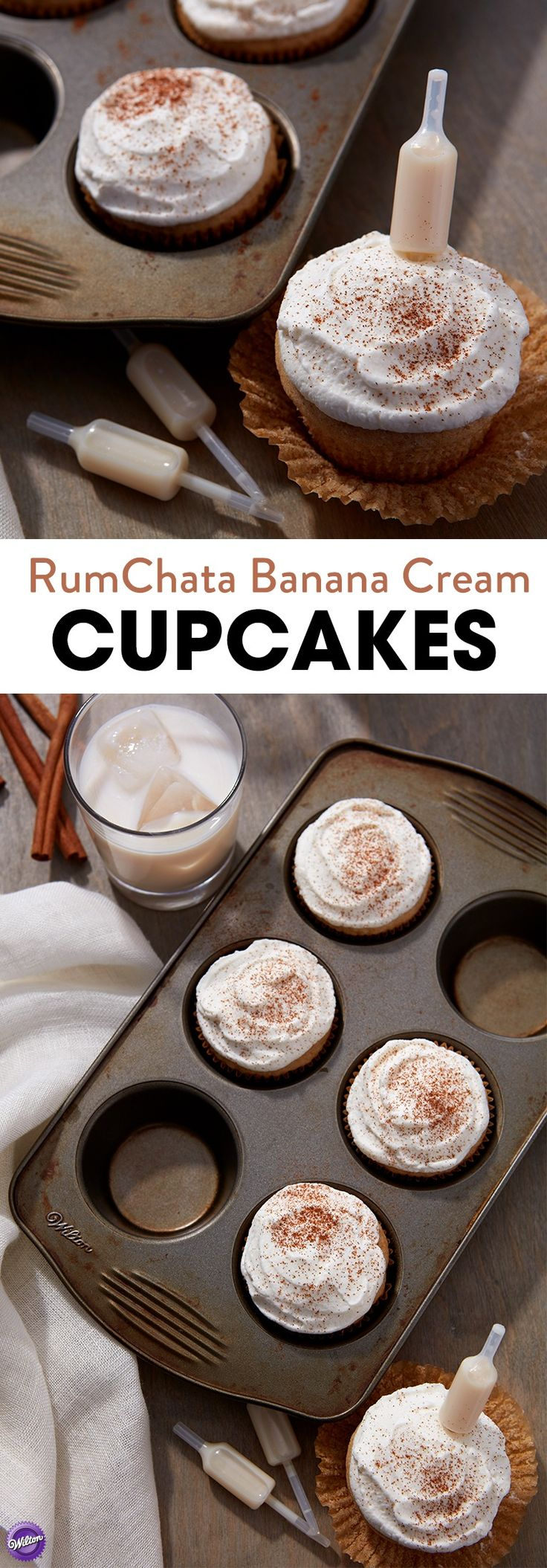 RumChata Banana Cream Cupcakes - Wilton Shot Toppers plus RumChata Banana Cream Cupcakes equal YUM. These moist and fluffy cupcakes only get better once you add a Shot Topper of RumChata to get that special cinnamon-kick. This recipe is the perfect addition to any girls' night, bachelorette party, wedding party or brunch. This recipe is all you need for a fun, infused burst of flavor.