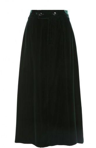Женская зелёная бархатная юбка-миди с широким поясом Saint Laurent, сезон FW 16/17, арт. 436757/Y025W купить в ЦУМ   Фото №1