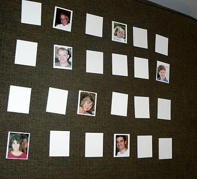 homemade game of memory with photos (using magnetic pic frames and oil pan or cube fabric and velcro? )