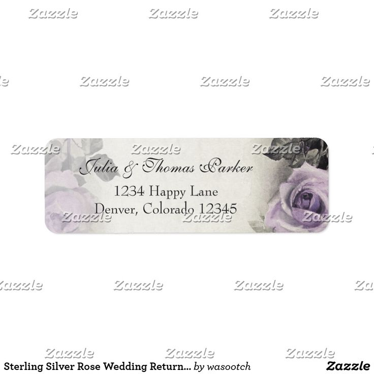 Sterling Silver Rose Wedding Return Address Label Vintage sterling silver amethyst purple rose wedding return address labels to be used for your wedding invitations and reply cards, or just use it as a pretty general return address label. To change the text, just use the personalize it option. If you want to change the font, font size, font colors, or text placement, use the customize it option. With changes to the text, these could also be used as wedding favor tags as well. Soft and…