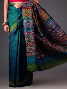 Sea Green-Olive Tussar Silk Kantha Embroidered Saree