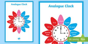 Analogue Clock Flower Display Poster - Analogue Clock Flower Labels - analogue, clock, flower, labels, lebels, labeles, surround, time, tel
