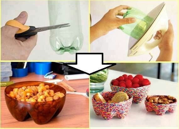 Ideas con botellas plásticas: Pop Bottle, Diy Ideas, Plastic Bottles, Recycled, Sodas Bottle, Parties Nibbles, Portion Control, Bowls, Crafts