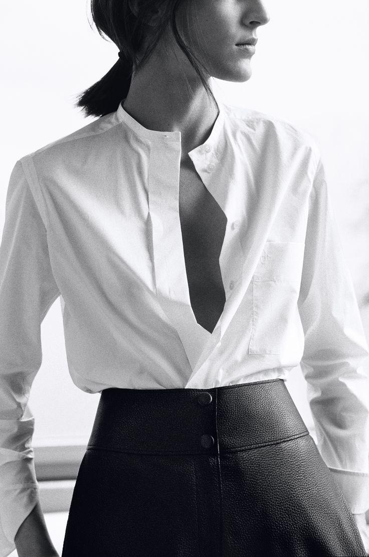 Hermès, Winter 2014. Officer collar shirt in cotton batiste, biker trousers.