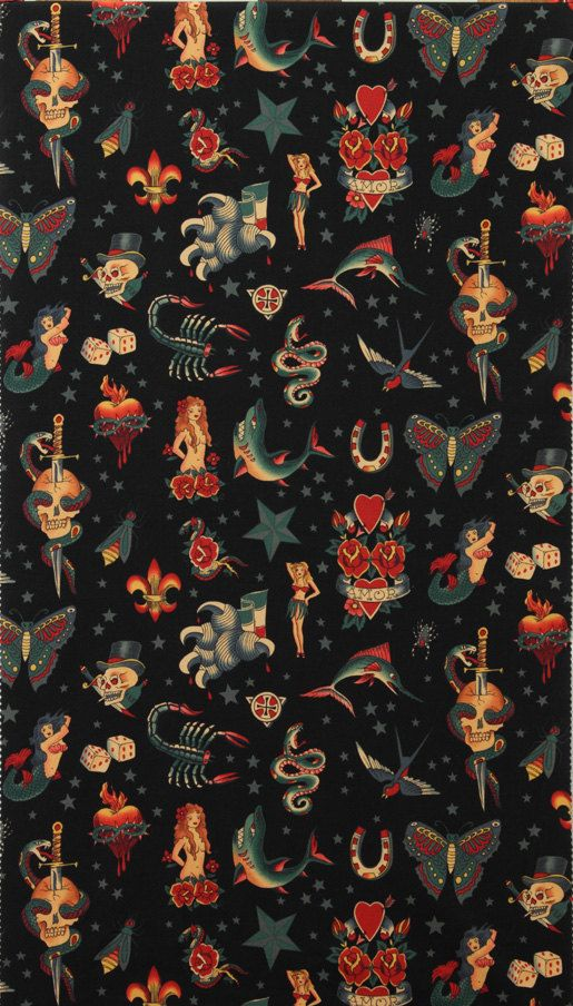 Alexander Henry Fabric Tattoo Black By the Yard, pattern, illustration, art,