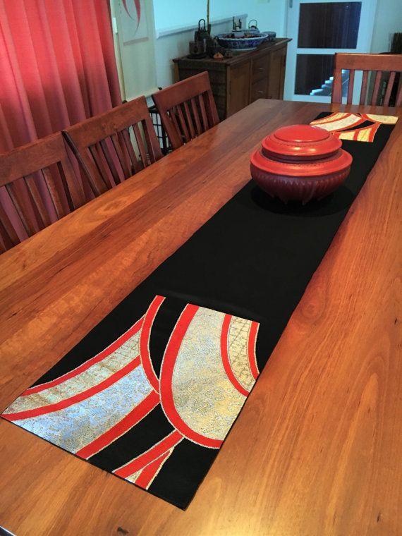 Vintage Japanese Obi Table Runner  Black / Gold / by Setsuri