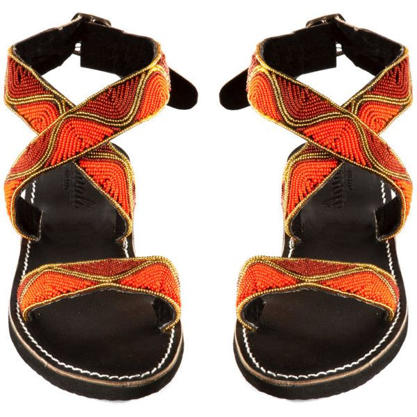 Beaded Shoes Handmade Sandals Sunset Beads Orange ($59) ❤ liked on Polyvore featuring shoes, sandals, orange, women's shoes, leather shoes, beaded leather sandals, beaded flat shoes, rubber sole shoes and orange leather shoes