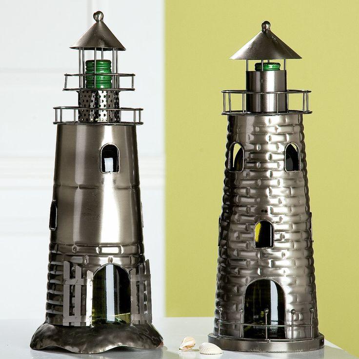 Flaschenhalter Leuchturm für Wein, Olivenöl,Essig, Höhe 28 cm, aus Metall - schöne Geschenkidee oder witzige Deko
