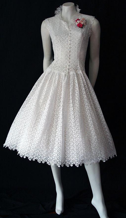 50s white lace dress