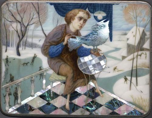 Anokhin, Fedoskino lacquer box, Mechanical bird