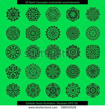 Twenty five ornamental round elements based on Caucasian folk motifs . Editable Vector Illustration.