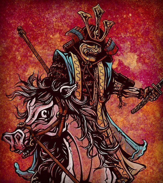 Day of the Dead Artist David Lozeau, One and Oni, Samurai Art, Dia de los Muertos Art, Sugar Skull Art, Candy Skull, Skull Art, Skeleton Art - 1