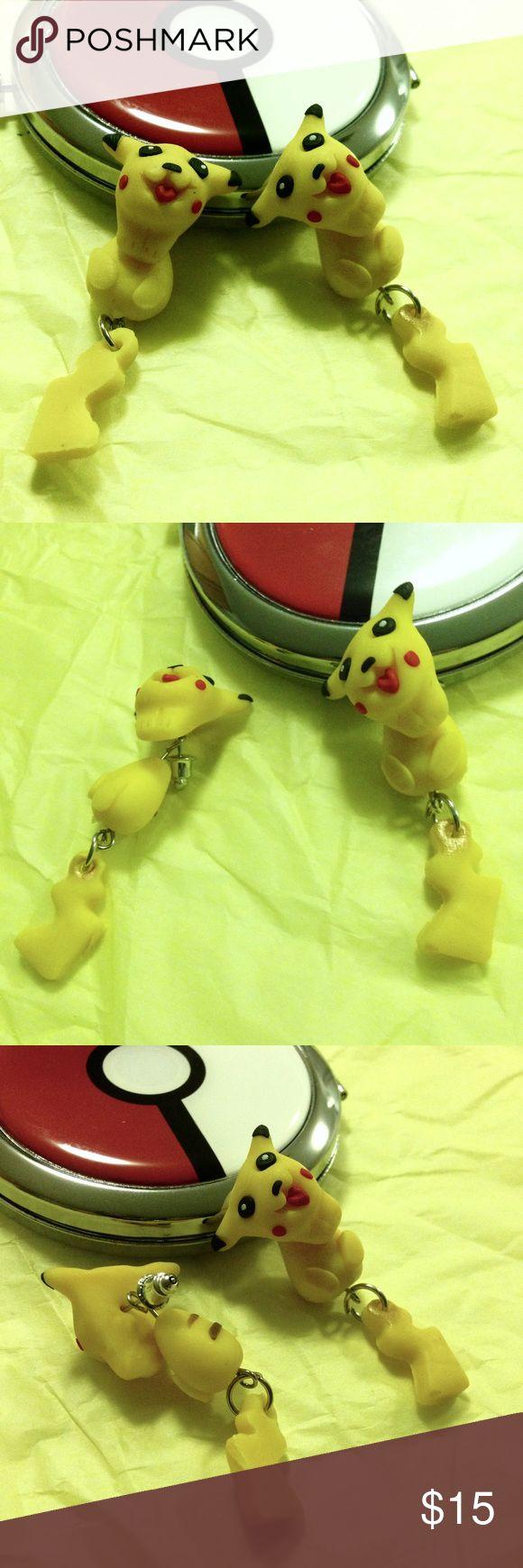 Pikachu Dangle Front & Back Earrings | Front back earrings ...