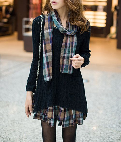 Charming Scoop Neck Faux Twinset Hollow Out Checked Splicing Long Sleeves Sweater Dress For Women | Sammydress.com