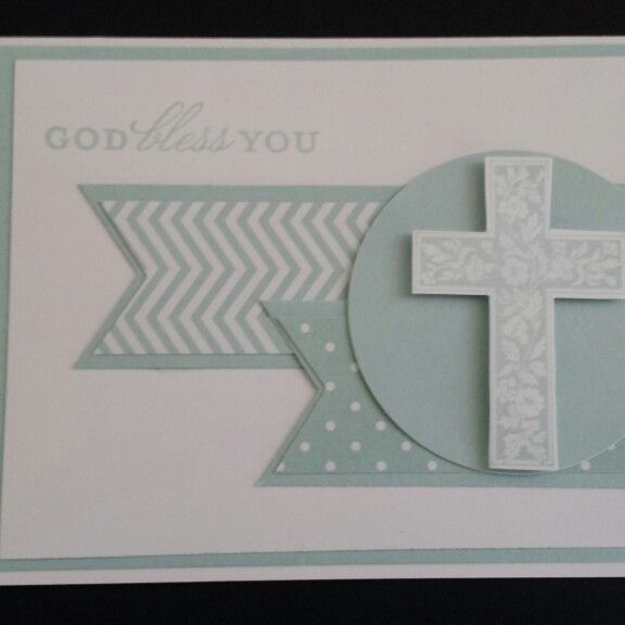 Stampin' Up! Boy's christening card soft sky. Crosses of hope…