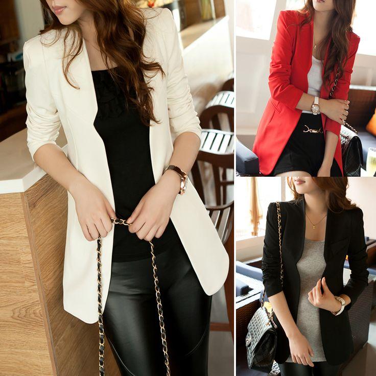 Envo gratis 2013 la primavera y el otoo de la mujer medio- largo de chaqueta de color, casual slim de moda traje de chaqueta