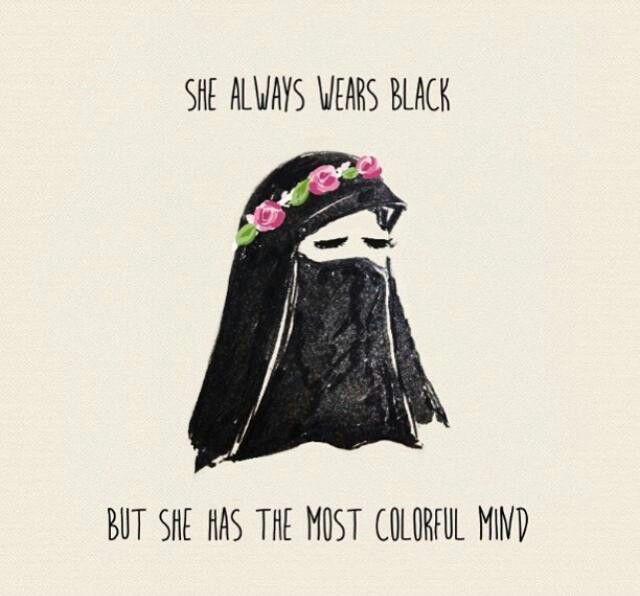 She wears black...