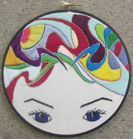 #embroidery: Satin Stitches, Paper Rose, Art Embroidery, Artists Colors, Colors Schemes, Sconces, Feelings Stitchi, Eye, Colors Hair