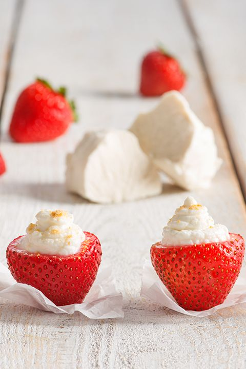 INGREDIENTS BY SAPUTO | Stuff these fresh strawberries with a delicious vanilla cheesecake filling made with Woolwich Goat Cheese. Your family will love this amazing and simple dessert recipe idea!