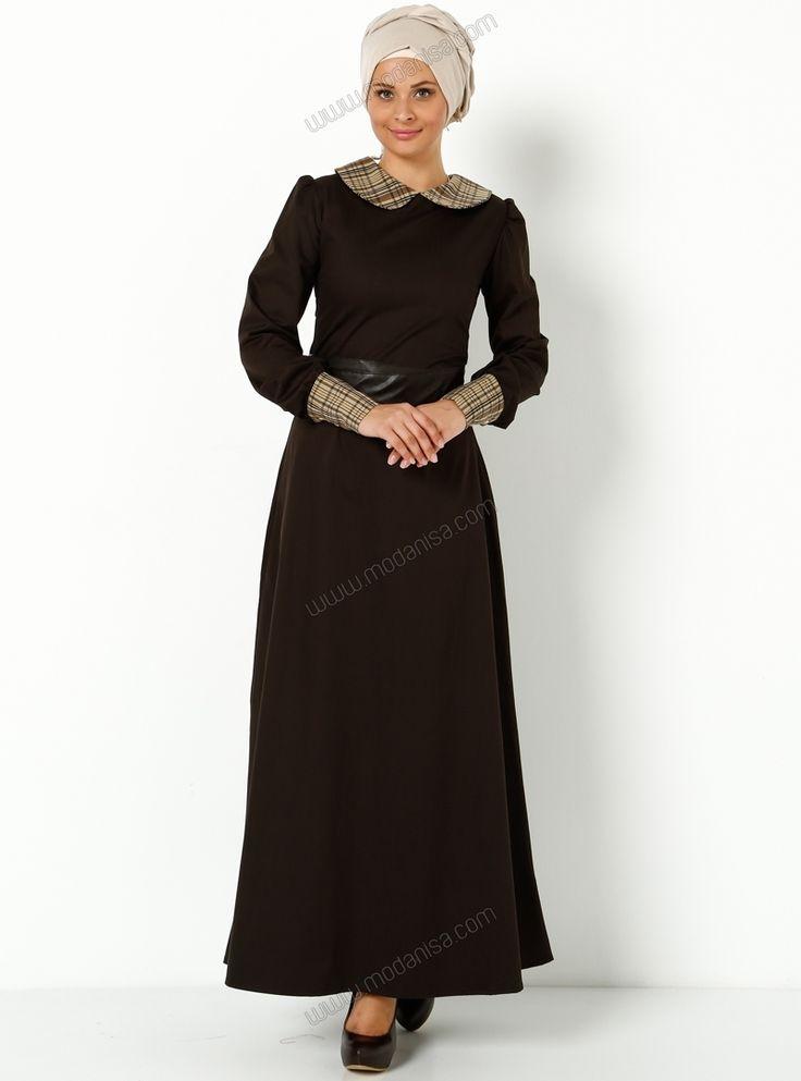 Yakası ve Kolları Ekose Elbise E2013-12 - Kahve - Ala London