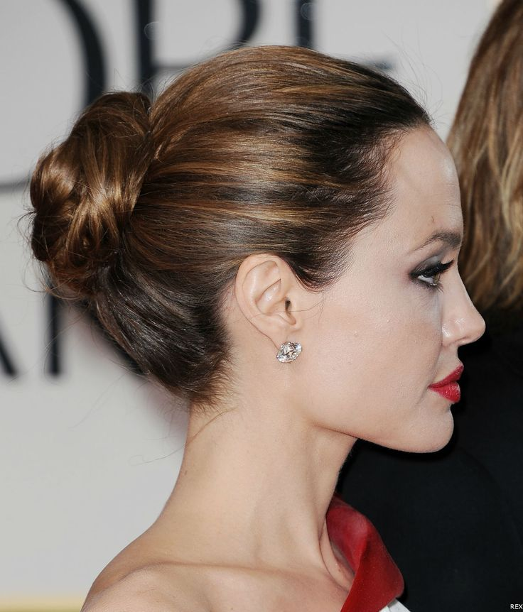 Angelina Jolie with a bun at the 69th Annual Golden Globes