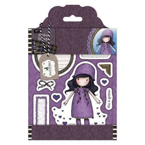Gorjuss Santoro Tweed - Rainy Daze rubber stamp